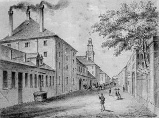 Die Brauerei Wolfsschlucht von der Bräuhausgasse  (heutige Universitätsstraße) aus gesehen.